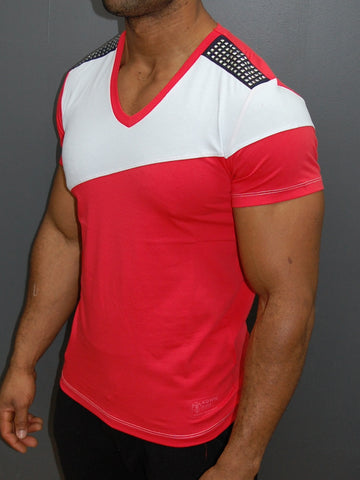 K&D Men 2 Tone Studded V-neck T-shirt - Pink