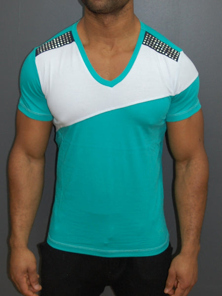K&D Men 2 Tone Studded V-neck T-shirt - Green
