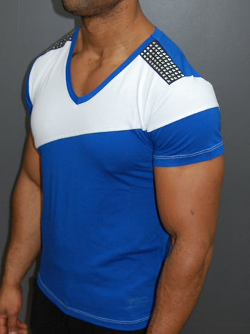 K&D Men 2 Tone Studded V-neck T-shirt - Blue