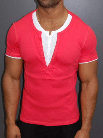 K&D Men 2 Tone Slit Button V-neck T-shirt - Pink
