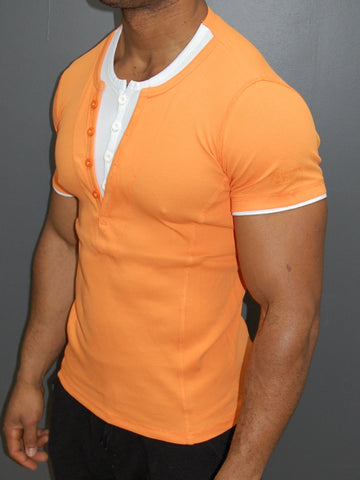 K&D Men 2 Tone Slit Button V-neck T-shirt - Orange