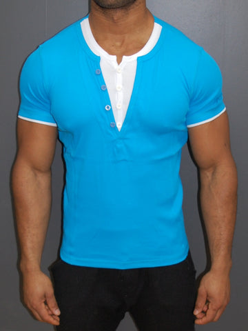 K&D Men 2 Tone Slit Button V-neck T-shirt - Blue