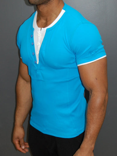 K&D Men 2 Tone Slit Button V-neck T-shirt - Blue - FASH STOP