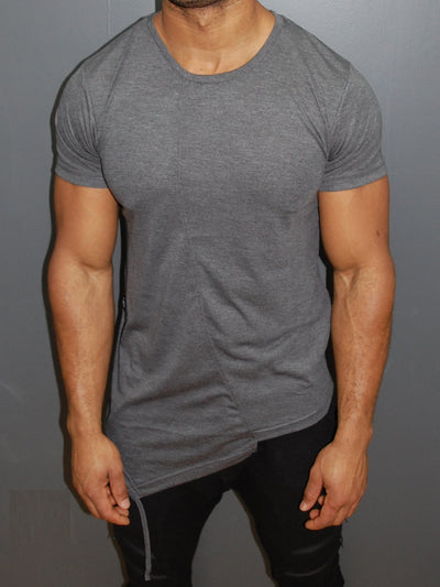 Y&R Men Asymmetrical Fil T-Shirt - Heather Gray