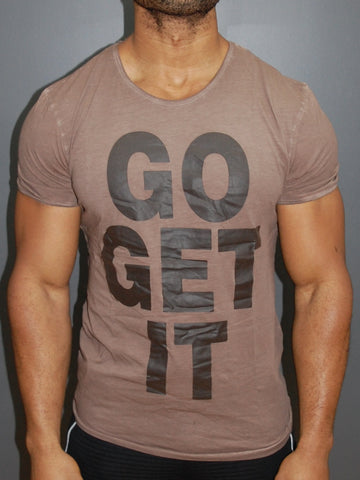 "Y&R Men ""Go Get It"" Graphic T-shirt - Brown"