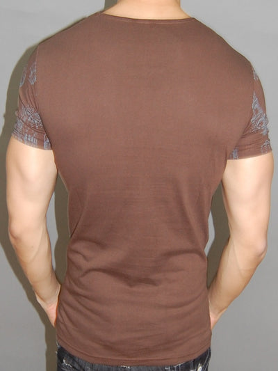 C&B MENS GRAPHIC ROUTE 66 T-SHIRT MUSCLE / SLIM FIT - BROWN - FASH STOP