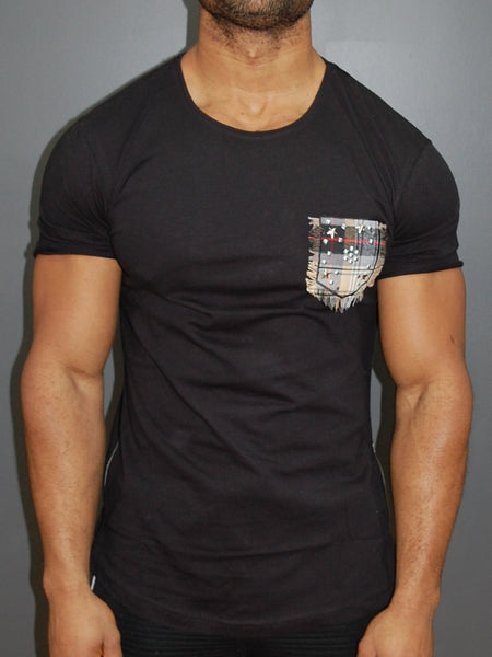 R&R Men Mock Stars Pocket T-shirt - Black