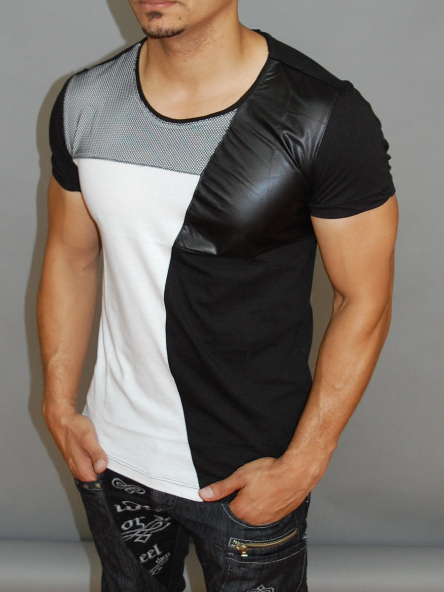 Y&R Men Mesh Faux Leather Shirt  - Black