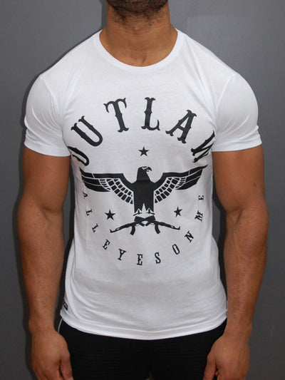 "Outlaw Men Graphic Eagle ""All Eyes On Me"" T-shirt - White"