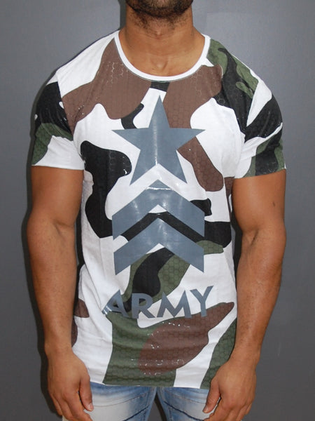 Y&R Men Army Camo Star T-Shirt - White