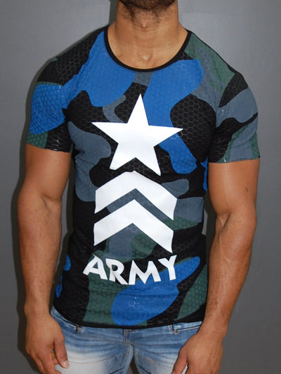 Y&R Men Army Camo Star T-Shirt - Black