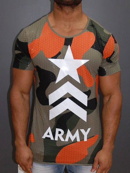 Y&R Men Army Camo Star T-Shirt - Army Green