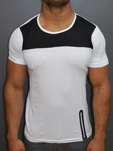 N&R Men Top Mesh Side Zipper T-shirt - White