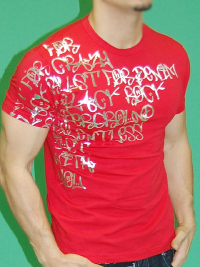 J&J MEN'S MUSCLE FIT SILVER GRAFFITI T-SHIRT - RED - FASH STOP