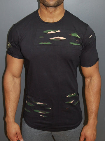R&R Men Camo Ripped T-shirt - Black