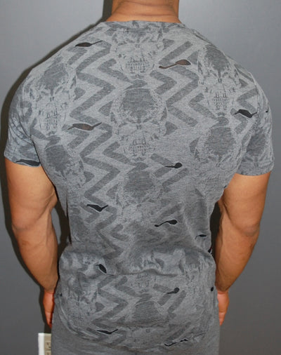 R&R Men Skulls Mock Holes Ripped T-Shirt - Dark Gray