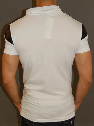 R&R Men 2-1 Mock Neck Muscle / Slim  Fit Shirt - White