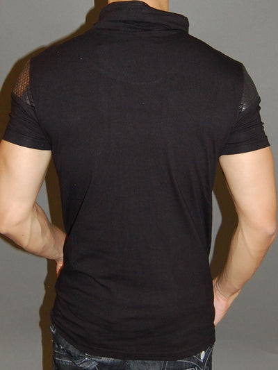 R&R Men 2-1 Mock Neck Muscle / Slim  Fit Shirt -  Black