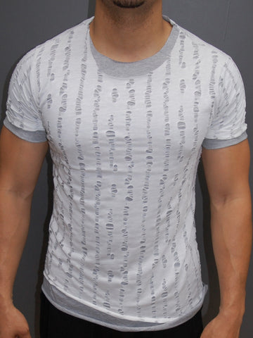 Y&R Men Ripped Destroyed 2 layers T-Shirt - White