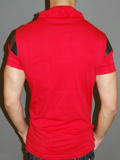 R&R Men 2-1 Mock Neck Muscle / Slim  Fit Shirt -  Red