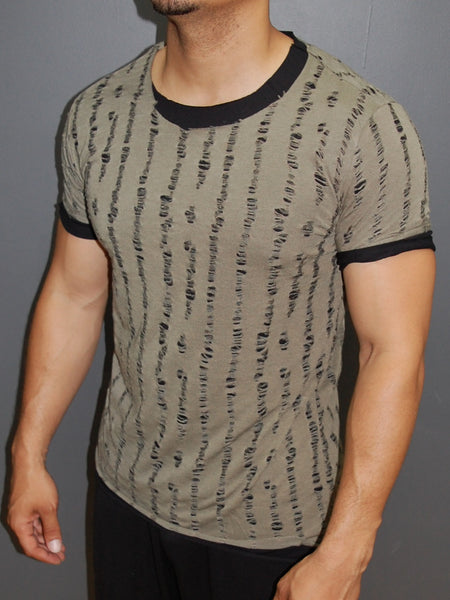 Y&R Men Ripped Destroyed 2 layers T-Shirt - Army Green