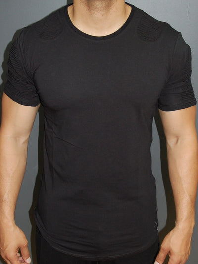 Y&R Men Ribbed Deltra Ridges Zip Side T-Shirt - Black