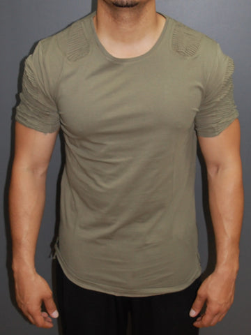 Y&R Men Ribbed Deltra Ridges Zip Side T-Shirt - Army Green