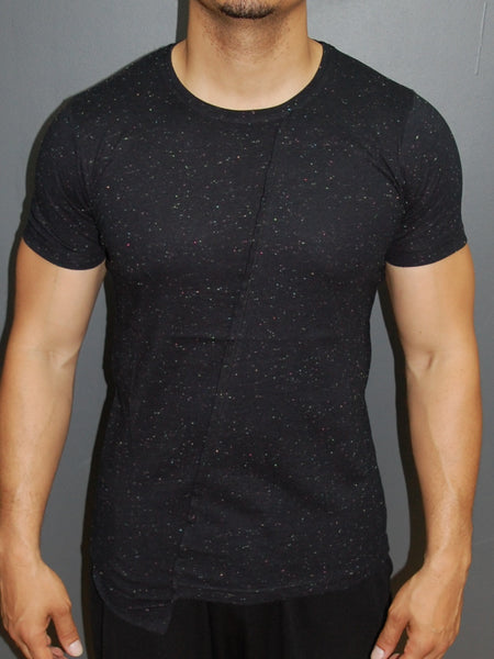 K&D Men Space Paint Flick Asymmetrical T-shirt - Black