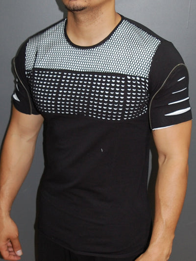 Y&R Men Ripped Perforated Zip Mesh Top T-Shirt - Black