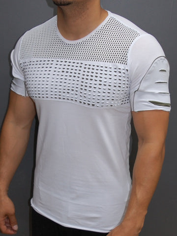 Y&R Men Ripped Perforated Zip Mesh Top T-Shirt - White