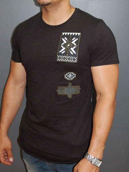 N&R Men Stitch Badges T-shirt - Black