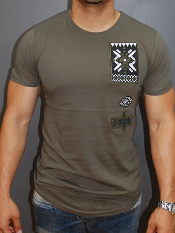 N&R Men Stitch Badges T-shirt - Army Green
