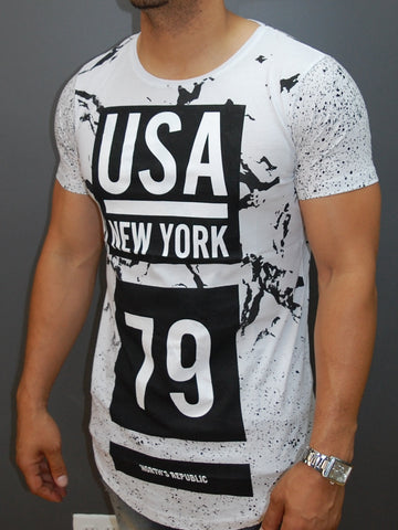 N&R Men Splash USA New York 79 T-shirt - White