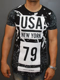 N&R Men Splash USA New York 79 T-shirt - Black
