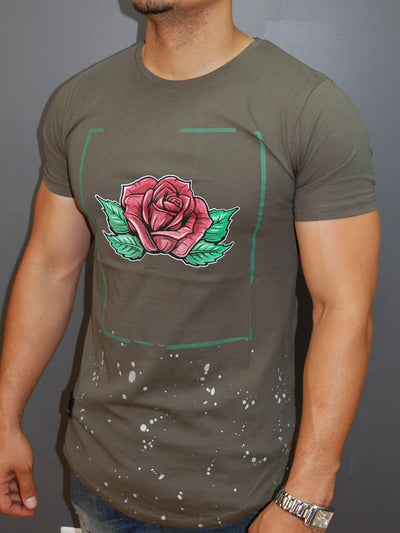 N&R Men Rose Stains T-shirt - Army Green