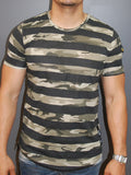 N&R Men Camo Stripes Camouflage Fil T-shirt - Army Green