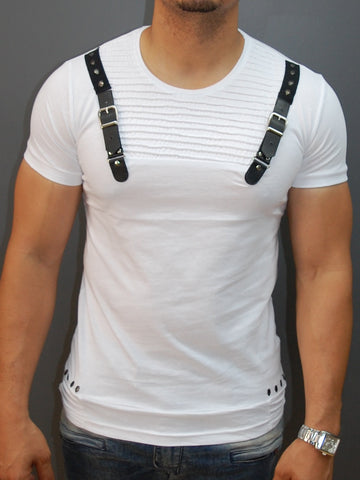 E1 Men Faux Leather Buckle Ribbed T-shirt - White
