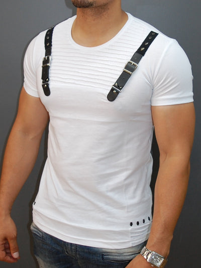 E1 Men Faux Leather Buckle Ribbed T-shirt - White - FASH STOP