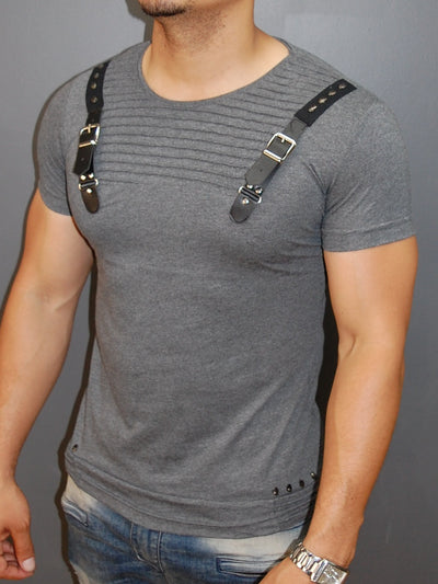 E1 Men Faux Leather Buckle Ribbed T-shirt - Heather Gray - FASH STOP