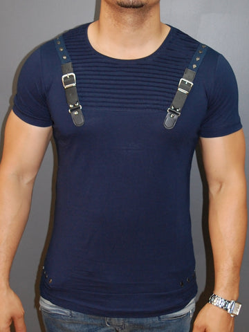 E1 Men Faux Leather Buckle Ribbed T-shirt - Navy Blue