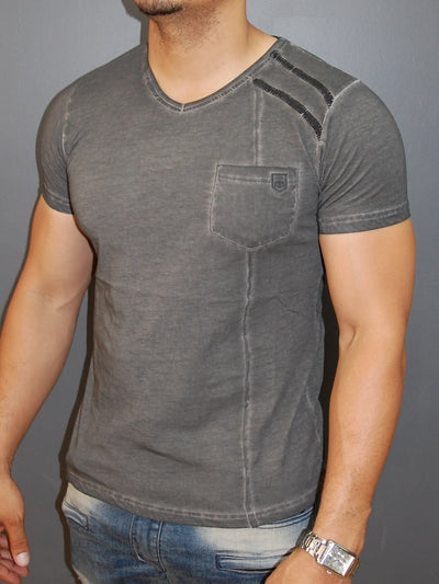 K&D Men Sticthy Dyed V-Neck T-shirt - Gray - FASH STOP