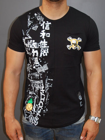 N&R Men Chinese Graffiti  T-shirt - Black