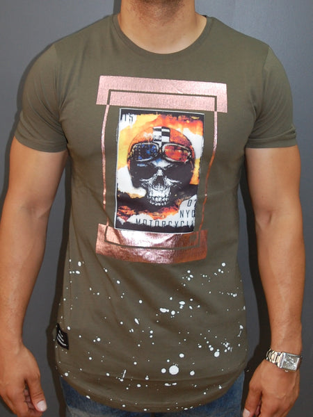 N&R Men Copper NYC Skull Ryder T-shirt - Army Green
