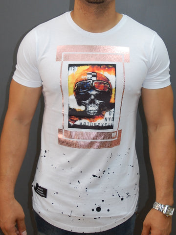 N&R Men Copper NYC Skull Ryder T-shirt - White