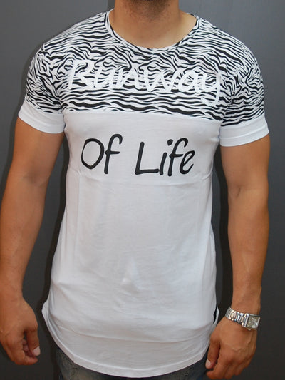 "N&R Men 2 Tone ""Runway Of Life"" T-shirt - White"