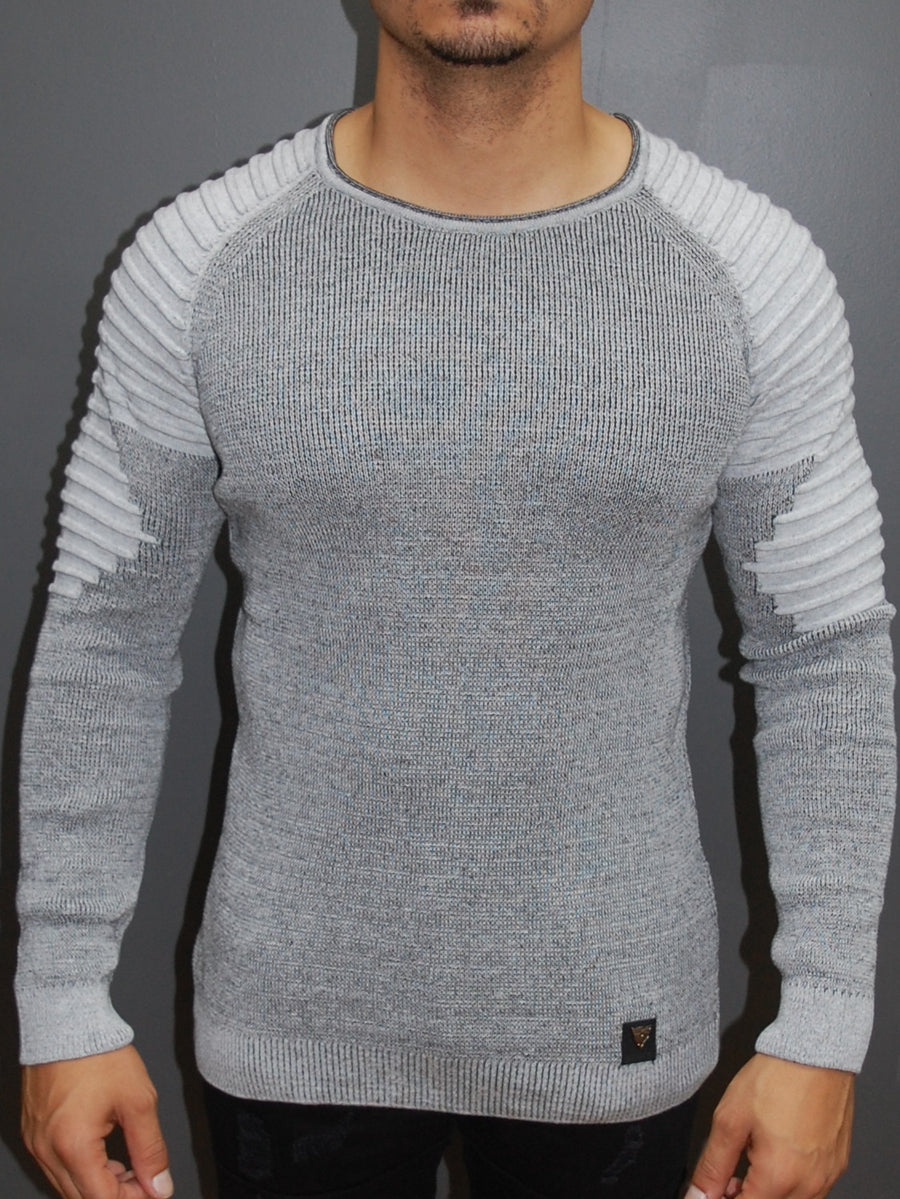 R&R Men Stylish 2 Tone Ribbed Arm Crew Neck Sweater - Gray