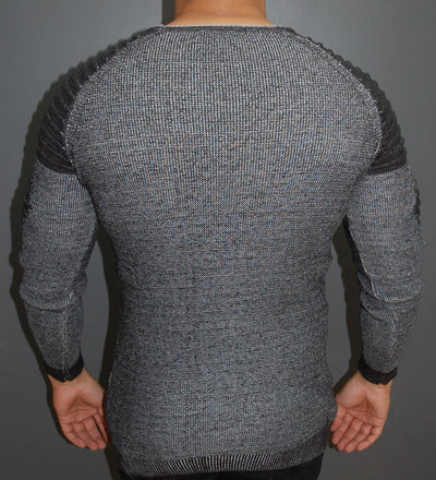 R&R Men Stylish 2 Tone Ribbed Arm Crew Neck Sweater - Dark Gray