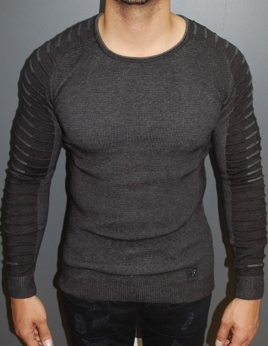 R&R Men Stylish Side Arm Ribbed Crew Neck Sweater - Dark Gray