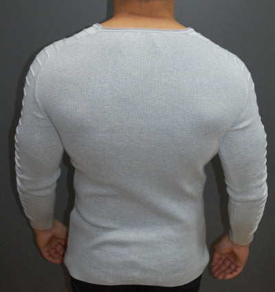 R&R Men Stylish Side Arm Ribbed Crew Neck Sweater - White