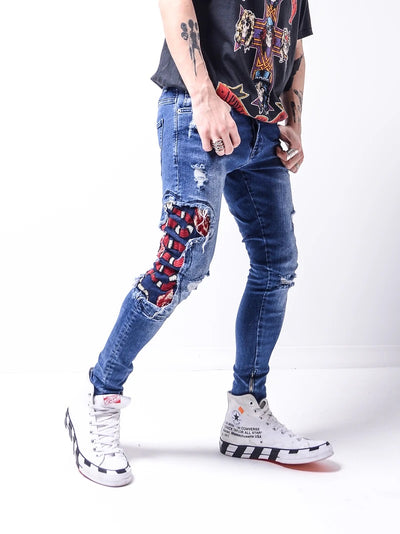 Snake Patch Jeans - Blue 4633